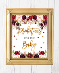 Marsala And Gold Floral Baby Shower Predictions for Baby Printable Sign