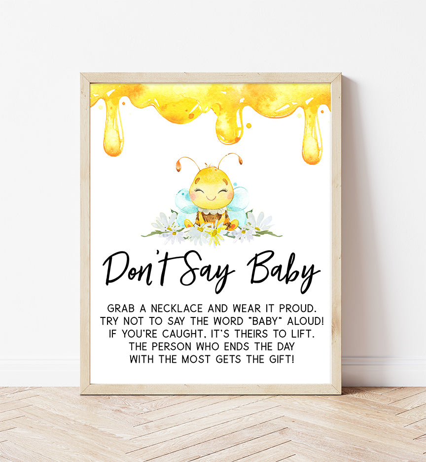 Bee Don't Say Baby Necklace Printable Sign