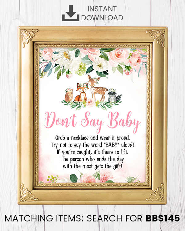 Blush Pink Floral Woodland Don't Say Baby Necklace Printable Sign