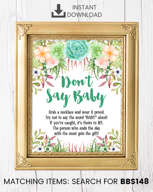 Succulent Don't Say Baby Necklace Printable Sign