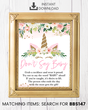 Blush Pink Floral Unicorn Don't Say Baby Necklace Printable Sign