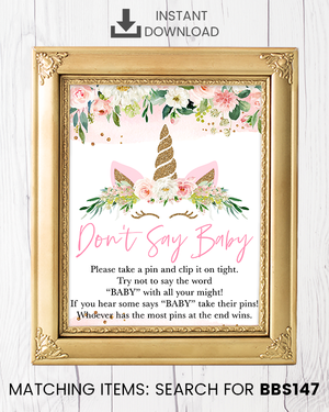 Blush Pink Floral Unicorn Don't Say Baby Pin Printable Sign