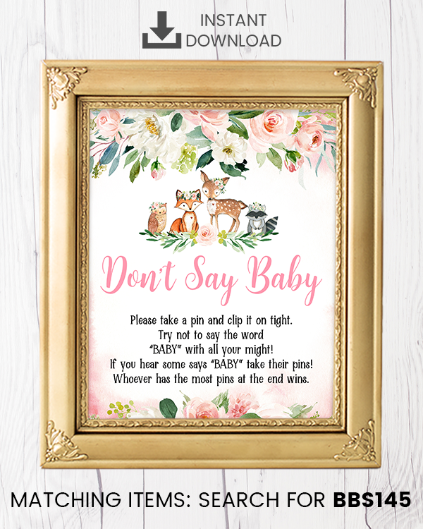 Blush Pink Floral Woodland Don't Say Baby Pin Printable Sign