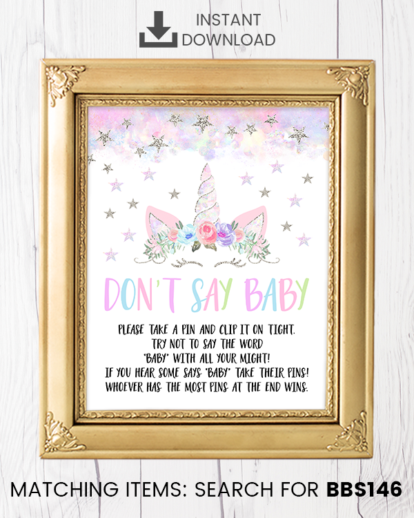 Silver Floral Unicorn Don't Say Baby Pin Printable Sign