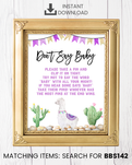 Purple Llama Don't Say Baby Pin Printable Sign