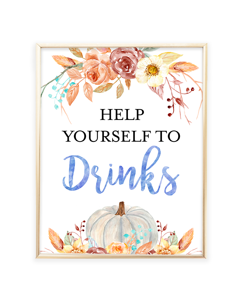 Fall Pumpkin Blue and Orange Floral Help Yourself to Some Drinks Sign