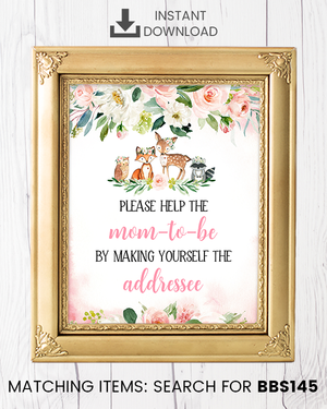 Blush Pink Floral Woodland Envelope Station Printable Sign