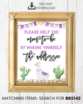 Purple Llama Envelope Station Printable Sign