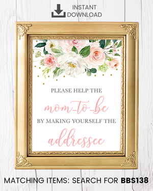 Blush Pink Floral Envelope Station Printable Sign