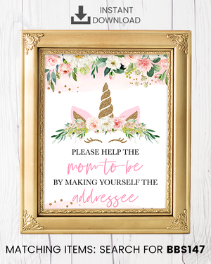 Blush Pink Floral Unicorn Envelope Station Printable Sign