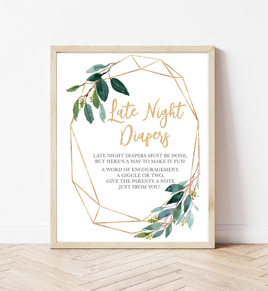 Greenery Geometric Late Night Diapers Printable Sign