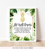 Tropical Gold Pineapple Late Night Diapers Printable Sign
