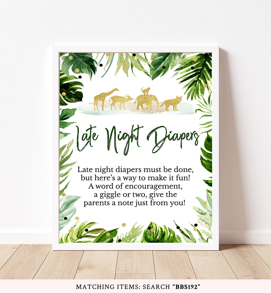 Safari Jungle Late Night Diapers Printable Sign