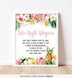 Pineapple Late Night Diapers Printable Sign