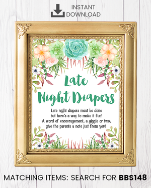Succulent Late Night Diapers Printable Sign