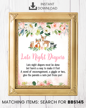 Blush Pink Floral Woodland Late Night Diapers Printable Sign