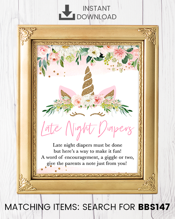Blush Pink Floral Unicorn Late Night Diapers Printable Sign