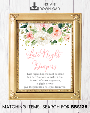 Blush Pink Floral Late Night Diapers Printable Sign