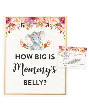 Elephant Baby Shower Printable How Big is Mommy's Belly