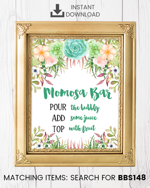 Succulent Momosa Bar Printable Sign