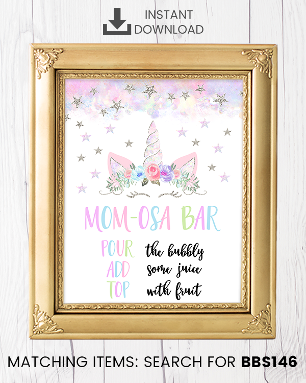 Silver Floral Unicorn Momosa Bar Printable Sign