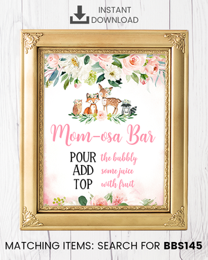 Blush Pink Floral Woodland Momosa Bar Printable Sign