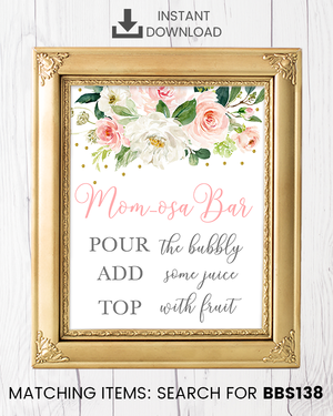 Blush Pink Floral Momosa Bar Printable Sign