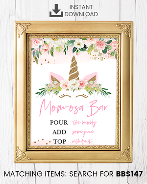 Blush Pink Floral Unicorn Momosa Bar Printable Sign