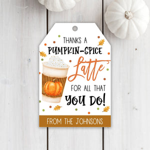 Editable Fall Coffee Gift Tags, Thanks a Latte, Thanksgiving Coffee Gift Tag, Staff Teacher Volunteer Coffee Gift Tag, Pumpkin Spice Tag