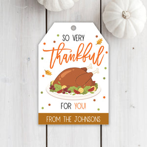Editable Thanksgiving Gift Tags, Grateful Thankful For You, Holiday Fall Staff Teacher Volunteer Gift, Bakery Tag, Instant Download Fall Tag
