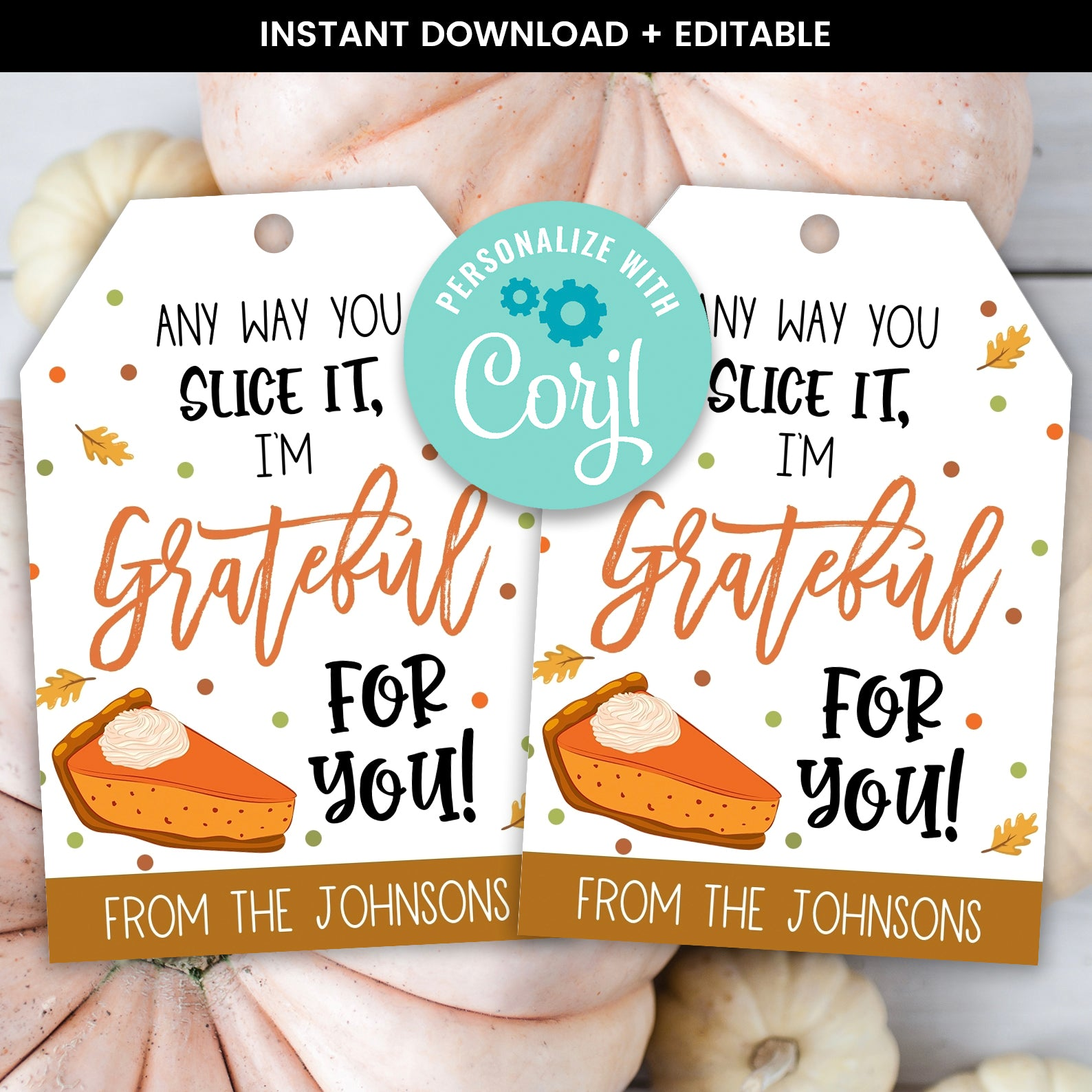 Editable Pumpkin Pie Thanksgiving Gift Tag, Thankful for you Gift Tag, Fall Gift Tag, Staff Teacher Volunteer Gift Tag, Instant Download