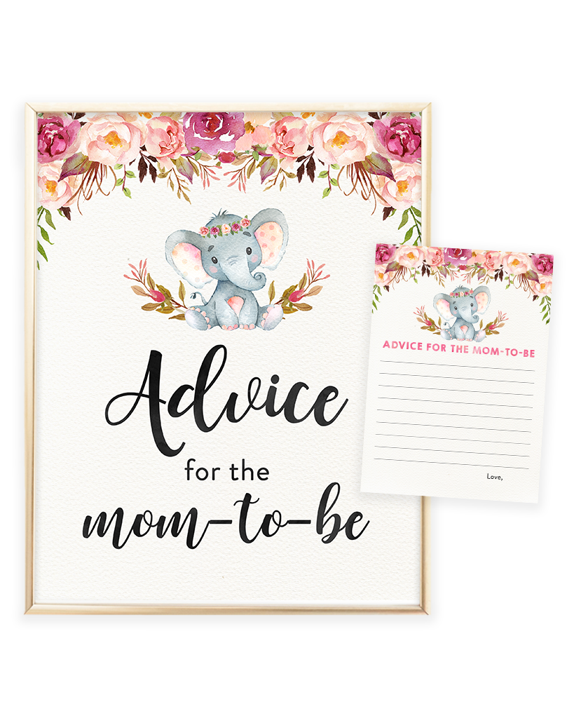 Elephant Advice for the Mom-to-be Printable