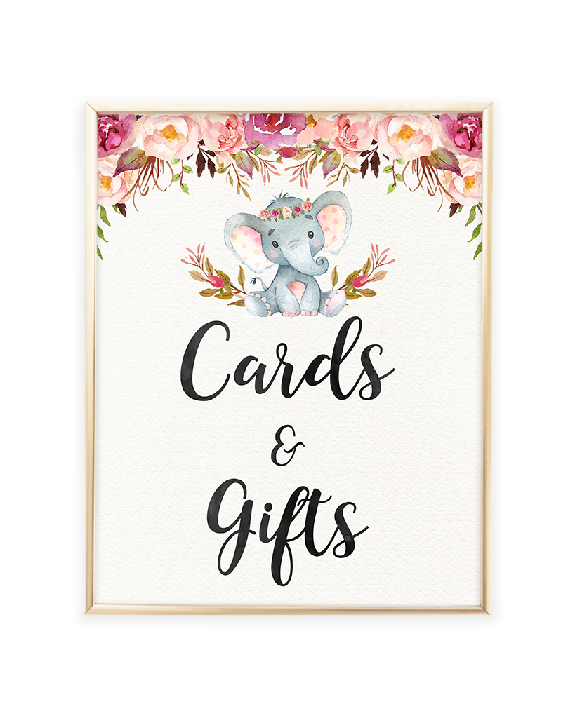 Elephant Baby Shower Cards and Gifts Printable Sign