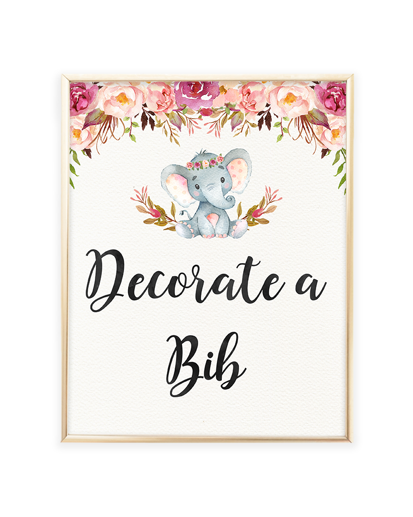Elephant Baby Shower Decorate a Bib Printable Sign