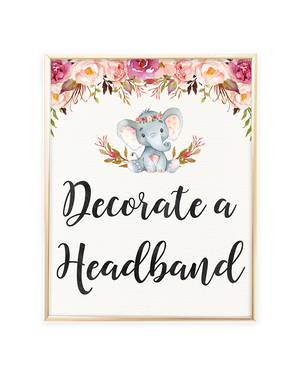 Elephant Baby Shower Decorate a Headband Printable Sign