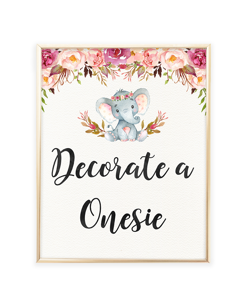 345cc7bb5ca1c Elephant Baby Shower Decorate a Onesie Printable Sign