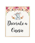 Elephant Baby Shower Decorate a Onesie Printable Sign