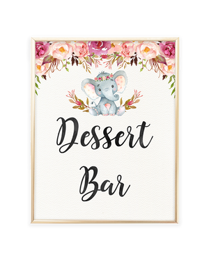 Elephant Baby Shower Dessert Bar Printable Sign