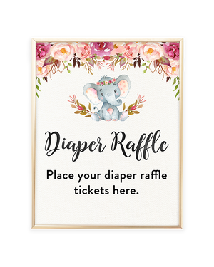 Elephant Baby Shower Diaper Raffle Printable Sign
