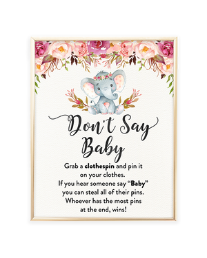 Elephant Baby Shower Games Don't Say Baby Printable Sign
