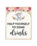 Elephant Baby Shower Help yourself to some drinks Printable Sign