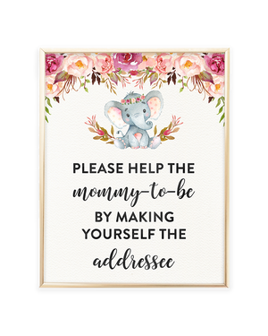 Elephant Baby Shower Envelope Station Printable Sign