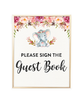 Elephant Baby Shower Please sign the guestbook Printable Sign
