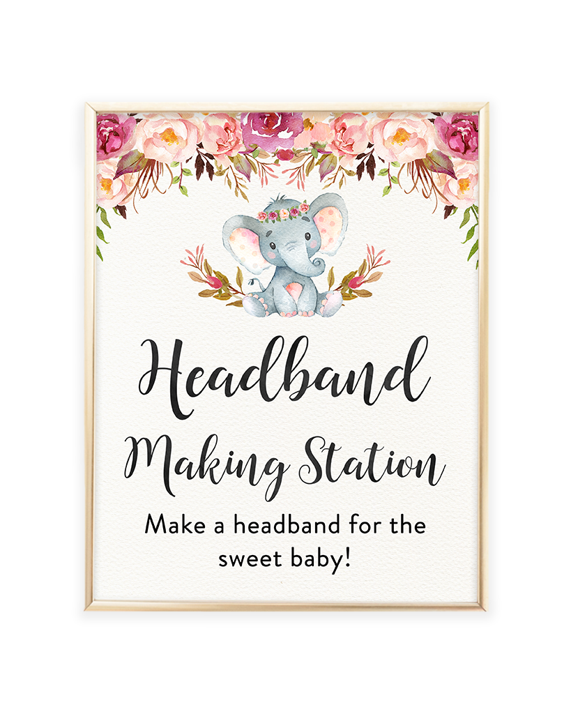 Elephant Baby Shower Headband Making Station Printable Sign Lets
