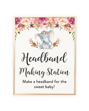 Elephant Baby Shower Headband Making Station Printable Sign