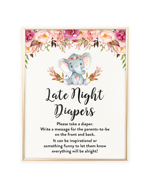 Elephant Baby Shower Late Night Diapers Printable Sign