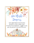 Fall Pumpkin Blue and Orange Late Night Diapers Sign