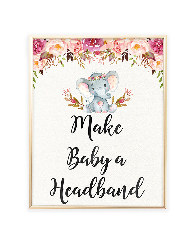 Elephant Baby Shower Make Baby A Headband Printable Sign Lets