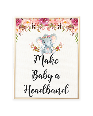 Elephant Baby Shower Make Baby a Headband Printable Sign