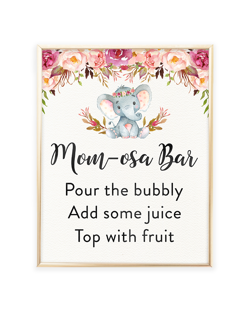 Elephant Baby Shower Mom-osa Bar Printable Sign